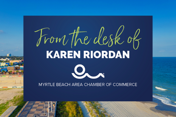 beach skyline with words reading from the desk of karen riordan
