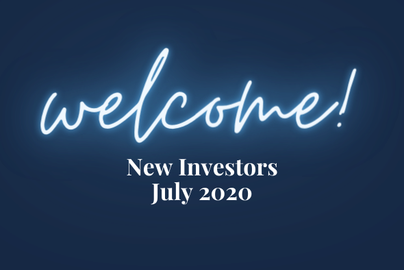 white text on blue background reading welcome new investors july 2020