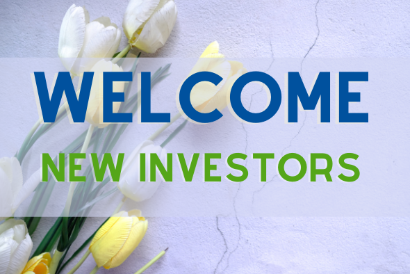 yellow and white tulips with words saying welcome new investors