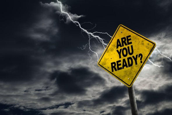lightning striking sign reading are you ready?