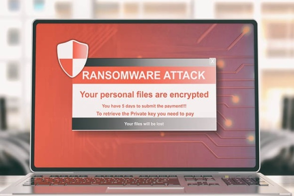 computer screen with ransomware attack alert
