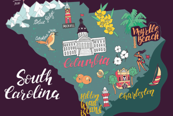 south carolina outline with major landmarks